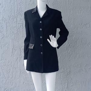 Amanda Smith Faux Crocodile Trim Lux Jacket/Blazer